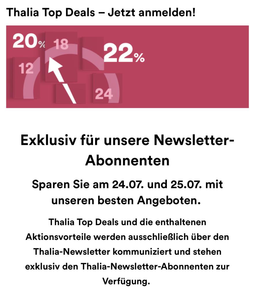 Exklusive Top Deals für unsere Newsletter-Abonnenten  Thalia
